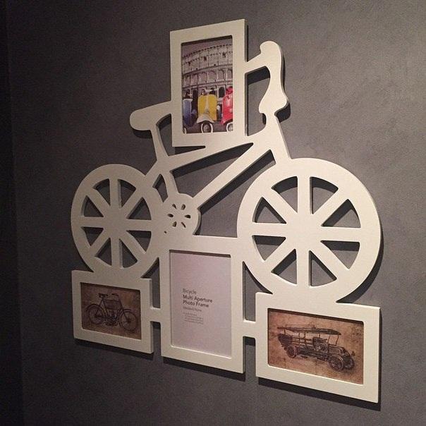 Quadro Bicicleta Porta Fotos Em Mdf Branco