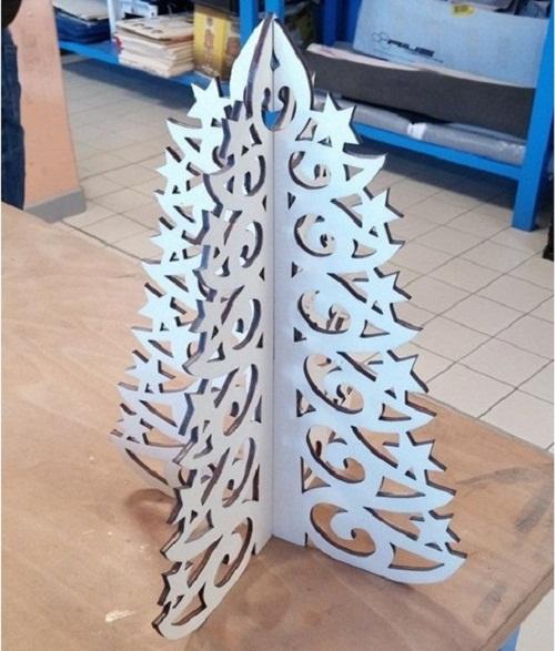 Enfeite De Mesa - Árvore De Natal Em Mdf Branco