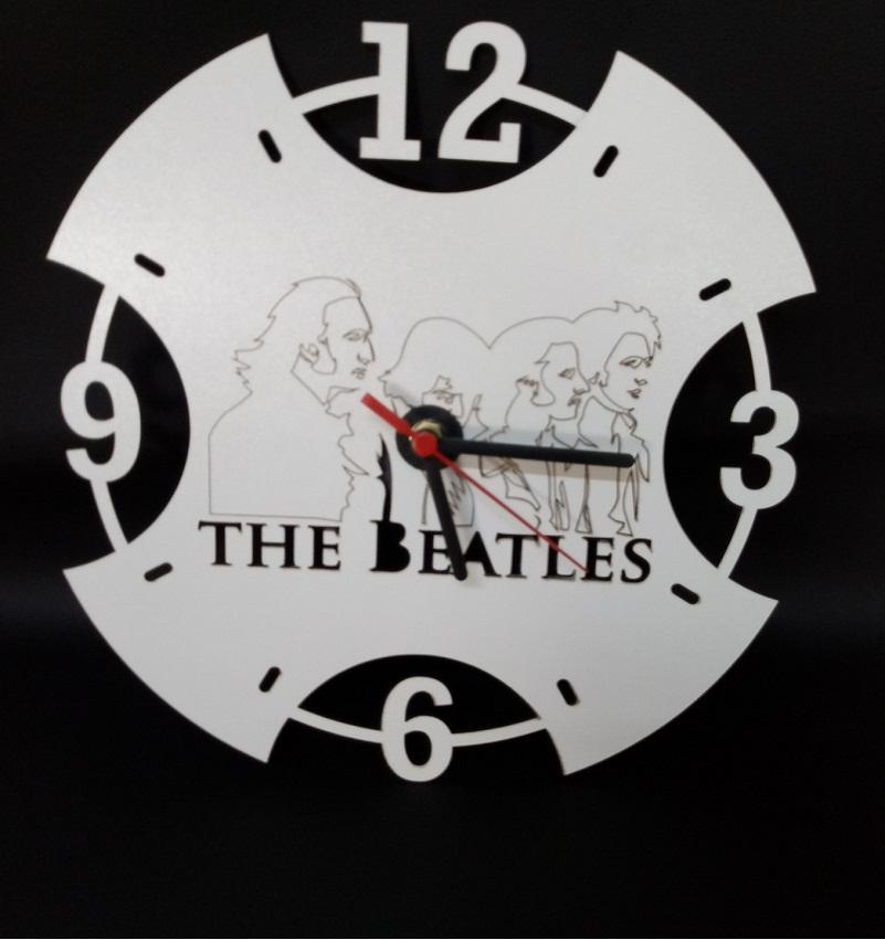 Relógio De Parede Beatles Em Mdf Branco