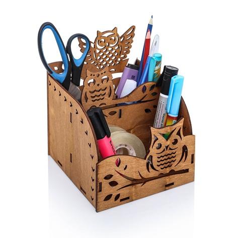 Caixa Porta Lápis Organizadora Corujas Em Mdf