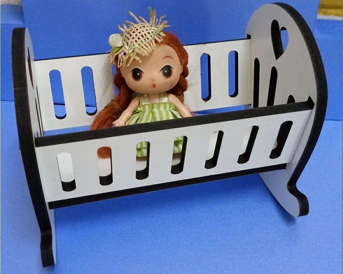 Berço Para Boneca Infantil Em Mdf Desmontado 54cm