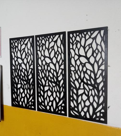 Trio Quadro De Parede Vazado Mdf Pintado 45x21cm