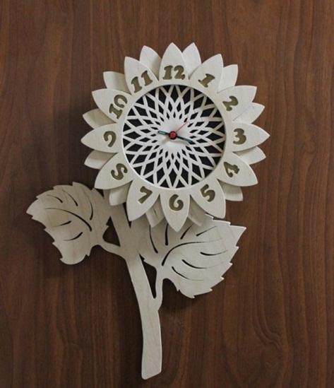 Relógio De Parede Flor Em Mdf