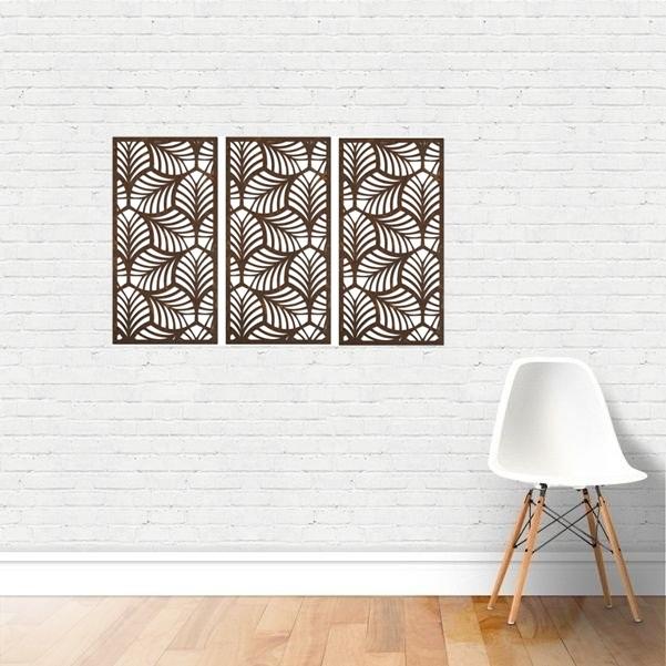 Trio Quadro Decorativo Em Mdf P79 - 45x21cm