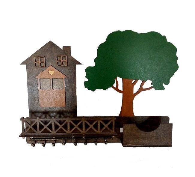 Porta Chaves E Cartas - Árvore Decorativo