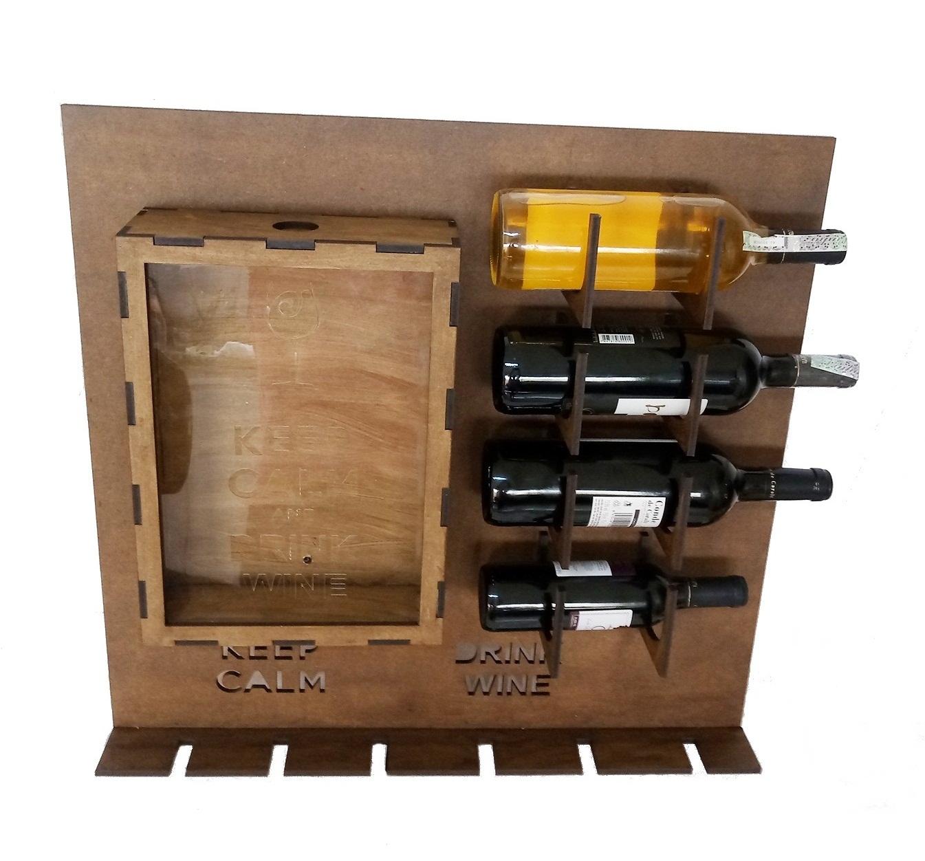 Prateleira P/ Vinho C/ Porta Rolhas Em Mdf