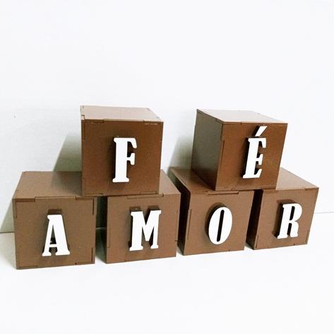 Cubo Letras Em Mdf