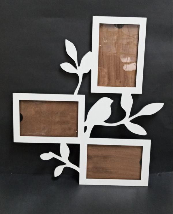 Porta Fotos Quadro Decorativo De Parede Em Mdf Branco