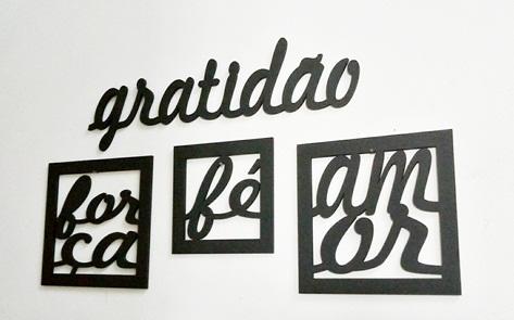 Kit Gratidão Com 3 Quadros Amor, Fé E Força - Mdf Vazado