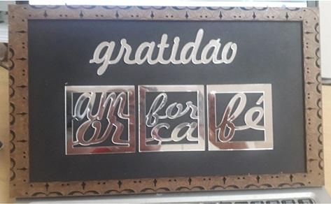 Quadrinho De Parede Kit Gratidão 20x34cm