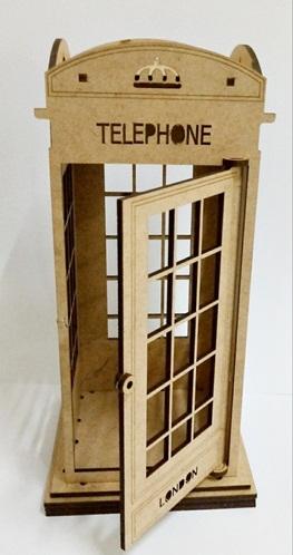Cabine Telefônica Londres - Mdf Cru - Decoração