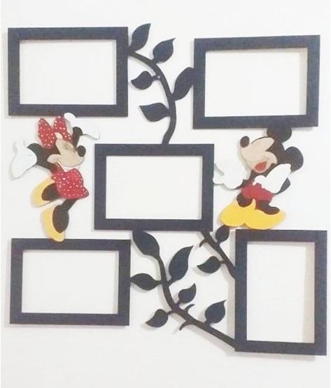 Quadro Porta Fotos Em Mdf Minnie e Mickey