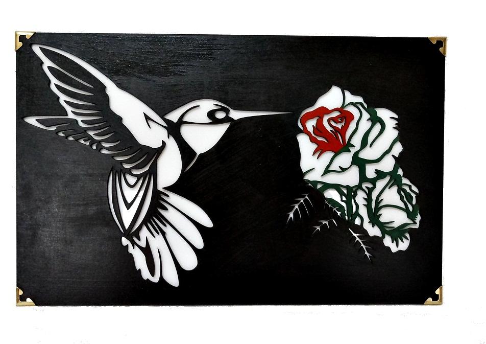 Quadro Beija-flor Em Mdf Revestido Em Acrílico