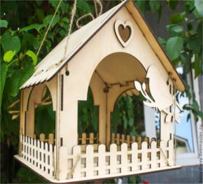 Casa Alimentador De Pássaros Em Mdf Cru