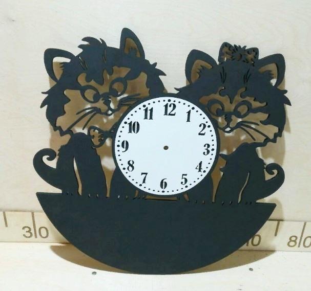 Relógio De Parede Gatinhos Em Mdf - P87
