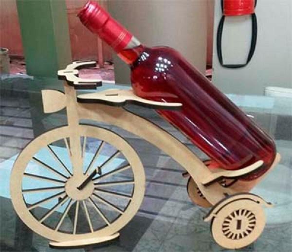 Porta Vinho/cachaça Bicicleta Em Mdf Cru