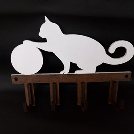 Cabideiro / Porta Chaves Gato Branco - Mdf