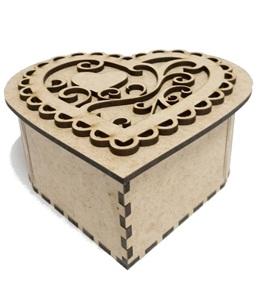 Caixa Coração Em Mdf Cru - Kit 6 Un