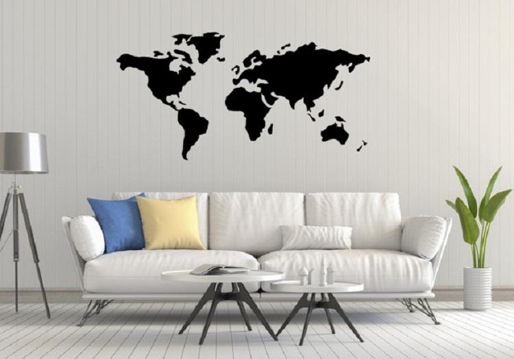Quadros Decorativos Mapa Mundi Em Acrílico Para Sala