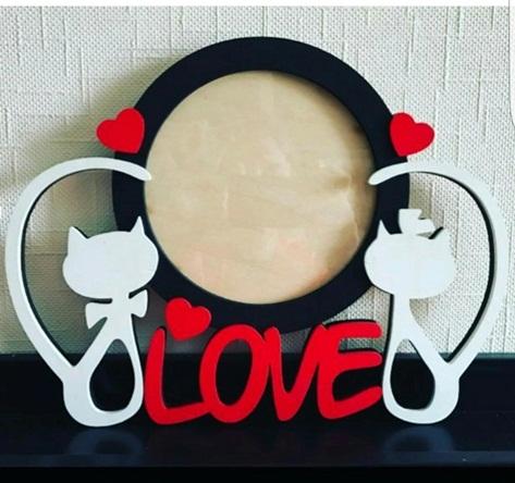 Porta Retrato Love Gatos Em Mdf