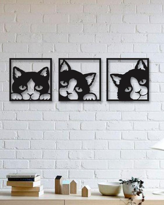 Quadro Gato Em Mdf Vazado Pintado Trio - 40x40cm
