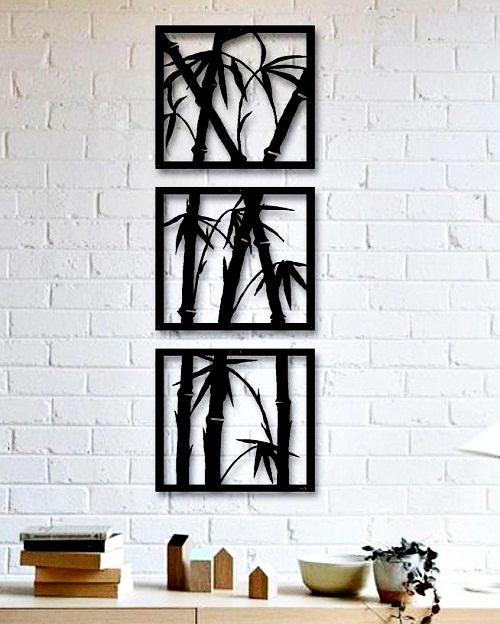 Trio Quadros Bambú Mdf Escultura De Parede Vazada 30cm