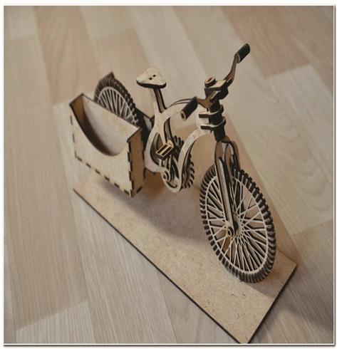Porta Cartão Em Mdf Bicicleta 30x17cm