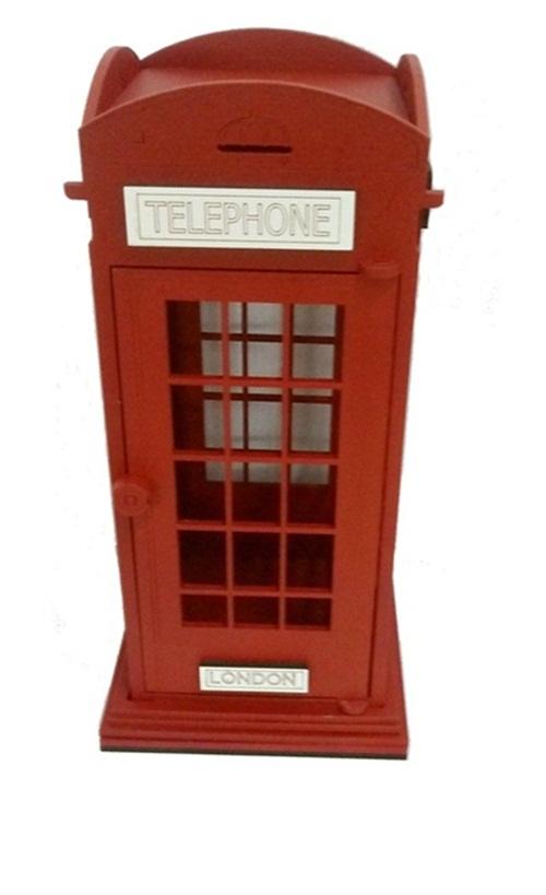 Cabine Telefônica Vermelha Em Mdf 35x16cm